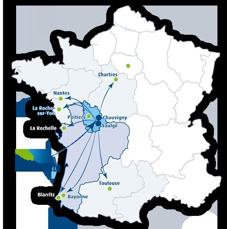 Carte du territoire Techniroute